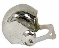"1-1/4"" Silver Miniature Plastic Football Helmets - Pkg 48"