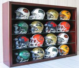 16 Mini Football Helmet Display Case Cabinet Wall Rack w/UV