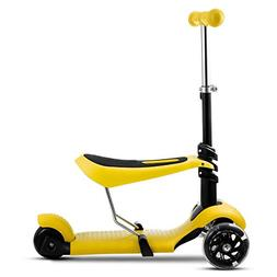 Kids 3 LED Wheels Mini Kick Scooter Children Walkers 3-in-1