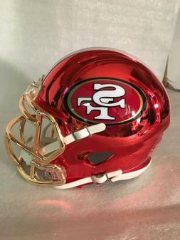 49ERS custom red CHROME riddell speed mini helmet