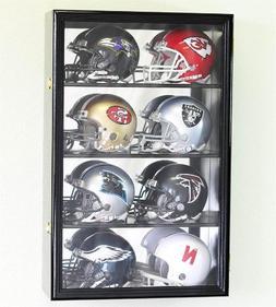8 Mini Helmet Display Case Cabinet Holder Rack w/ UV Protect
