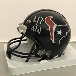 Autographed/Signed Deshaun Watson Houston Texans Football Mi