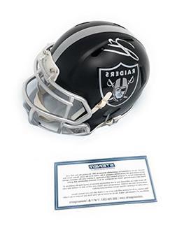 Derek Carr Oakland Raiders Signed Autograph Blaze Mini Helme