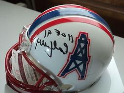 Earl Campbell signed T B Oilers mini helmet, JSA, HOF 91, bl