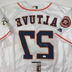 Autographed/Signed Jose Altuve Houston White Baseball Jersey