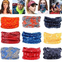 9pc Men Women Bandana Scarf Lot Headband Head Wrap Face Mask