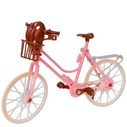Barbie Girl Bicycle Basket Helmet Dollhouse Miniature Model