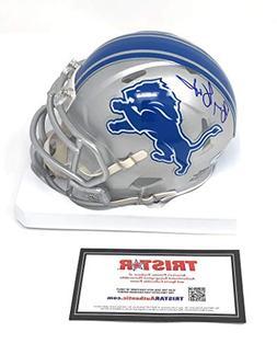 Barry Sanders Detriot Lions Signed Autograph Speed Mini Helm