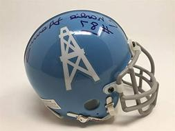 Charlie Hennigan Signed Autographed Mini Helmet Houston Oile