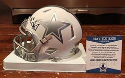 Dak Prescott Signed Dallas Cowboys Ice Mini Helmet Witness B