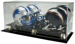 Deluxe Acrylic Double Mini Helmet Display Case w/ Mirror Bac