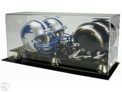 Deluxe Acrylic Double-Mini Helmet Display Case with Gold Ris
