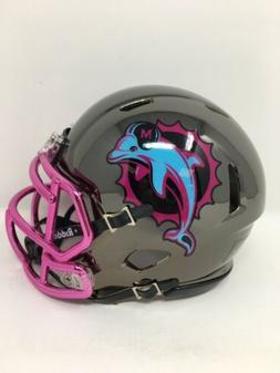 Dolphins custom black CHROME  riddell speed mini helmet