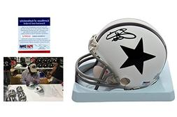Emmitt Smith Signed Dallas Cowboys Mini Helmet w/ Photo - TB