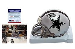 Emmitt Smith Signed Dallas Cowboys Mini Helmet w/ Photo - PS