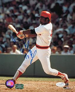 Jim Rice Autographed 8x10 Swinging In Red Helmet Photo- JSA