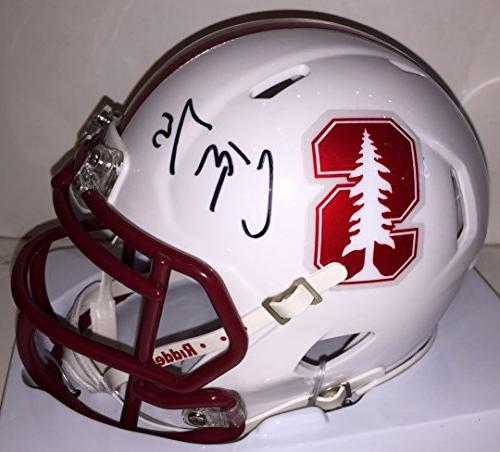 Christian McCaffrey Autographed Stanford Speed Mini Helmet.