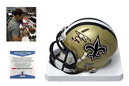 Drew Brees Signed New Orleans Saints Mini-Helmet - Beckett -