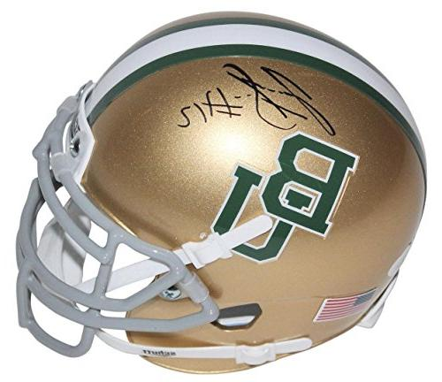 Josh Gordon Autographed Mini Helmet - Baylor Gold Schutt Wit