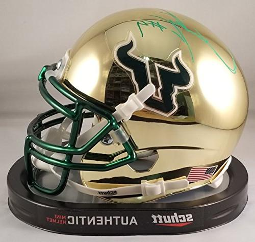 Quinton Flowers Autographed Signed Mini Helmet USF South Flo