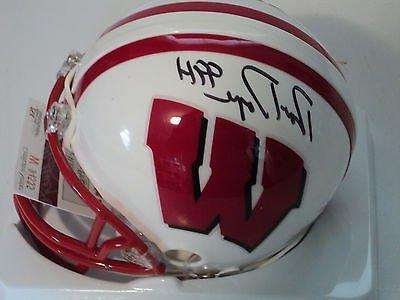 Ron Dayne signed Wisconsin mini helmet, JSA, 99 H