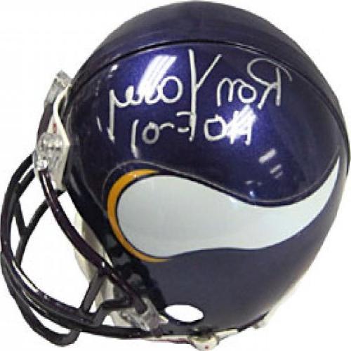 Ron Yary HOF 01 Autographed / Signed Minnesota Vikings Mini
