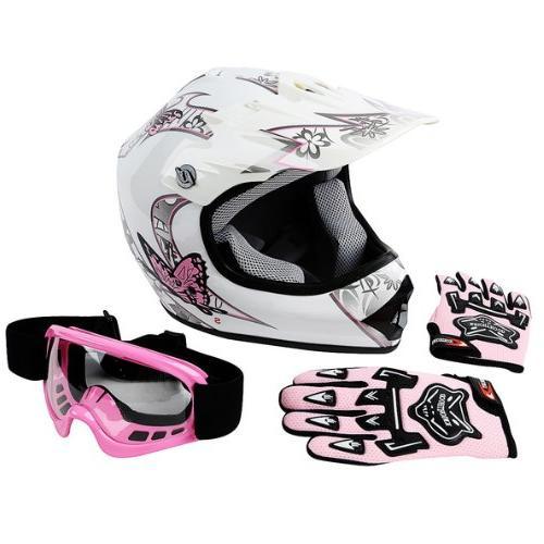 TCMT DOT Youth Pink Butterfly Dirt Bike ATV Helmet Motocross