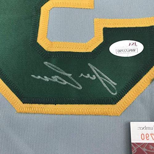 Autographed/Signed Jose Canseco Oakland Grey Baseball Jersey JSA COA