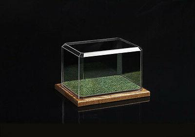 mini helmet display case with wooden base