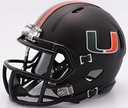 Miami Hurricanes Alternate Black NCAA Riddell SPEED Mini Hel