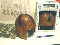 Mini Black Cross Leather Football Helmet