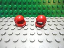 Lego mini figure 2 Red motorcycle helmet plain NEW