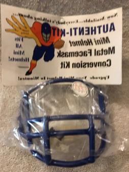 Mini Football Helmet Metal Facemask Blue QB/WR  W/Hardware N