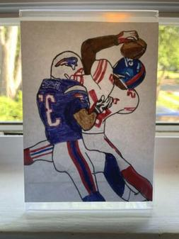 """Mini """"Helmet Catch"""" Drawing - With Plastic Frame"""