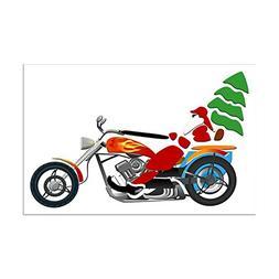 Mini Poster Print Holiday Biker Santa on his Motorcycle / Ch
