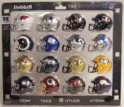 RIDDELL NFC POCKET PRO SPEED MINI HELMET SET 16 PIECE NEW LI