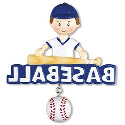 Personalized Baseball Christmas Ornament - Brunette Boy with