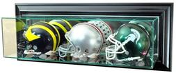 Triple Football Mini Helmet Wall Mounted Glass Display Case