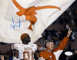 Vince Young Autographed Texas Longhorns 8x10 With Mack Brown