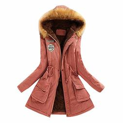 Realdo Women Coat Inner Plush, Women Fur Collar Hooded Jacke